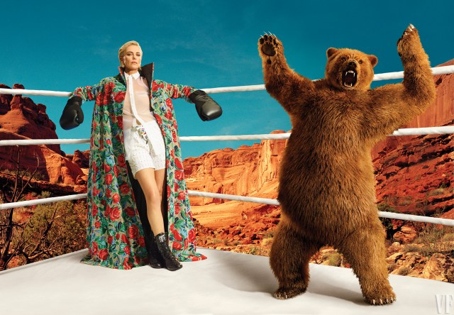 The comedian is among other celebrities looking dapper for the occasion, including Charlize Theron who appears alongside a bear in a boxing ring