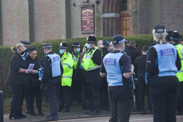 Police liaised with mourners in front of the church to ensure not covid laws were breached