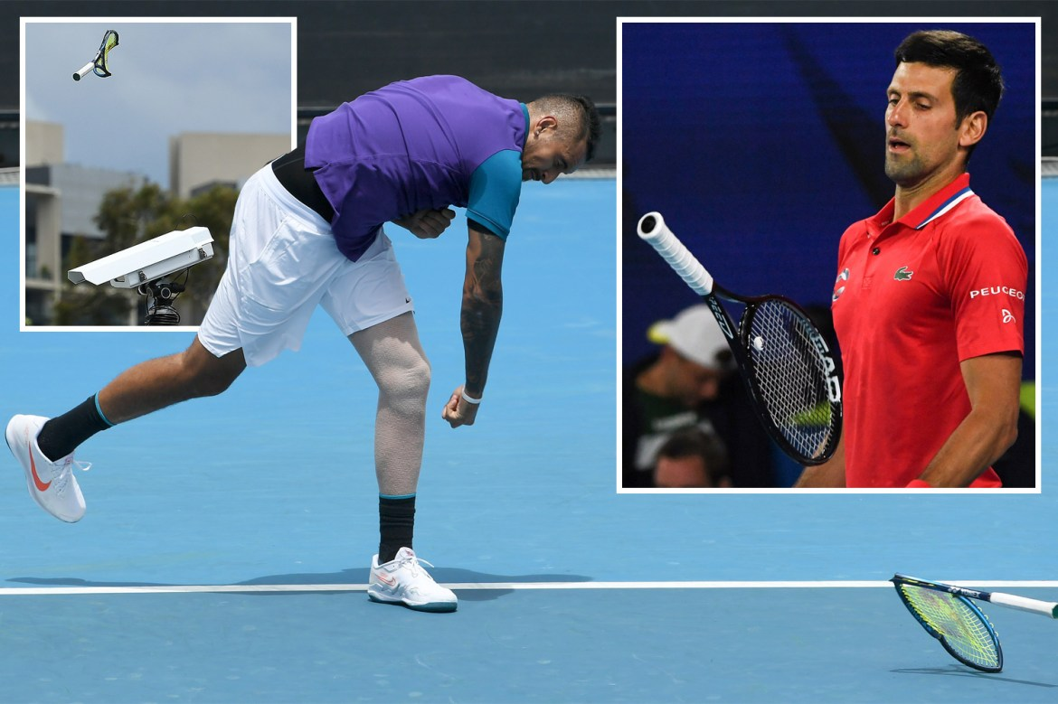 Image result for Djokovic and Kyrgios took out their frustrations on their equipment as the pre- Australian Open action