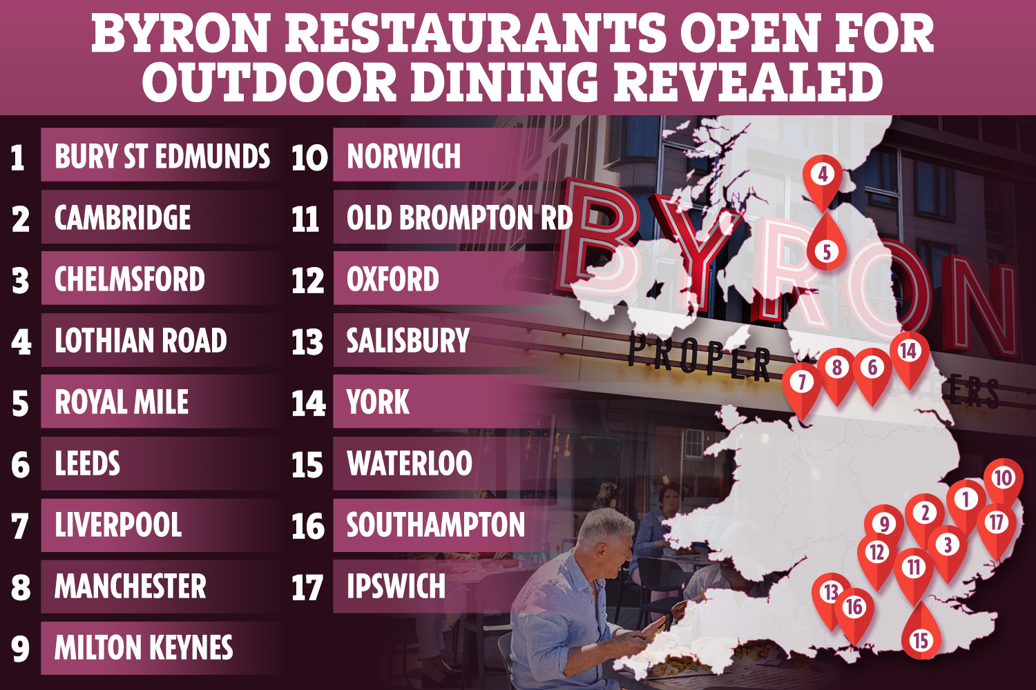 Byron fans will be able to sit outside to enjoy their meal from April 12 at 17 locations