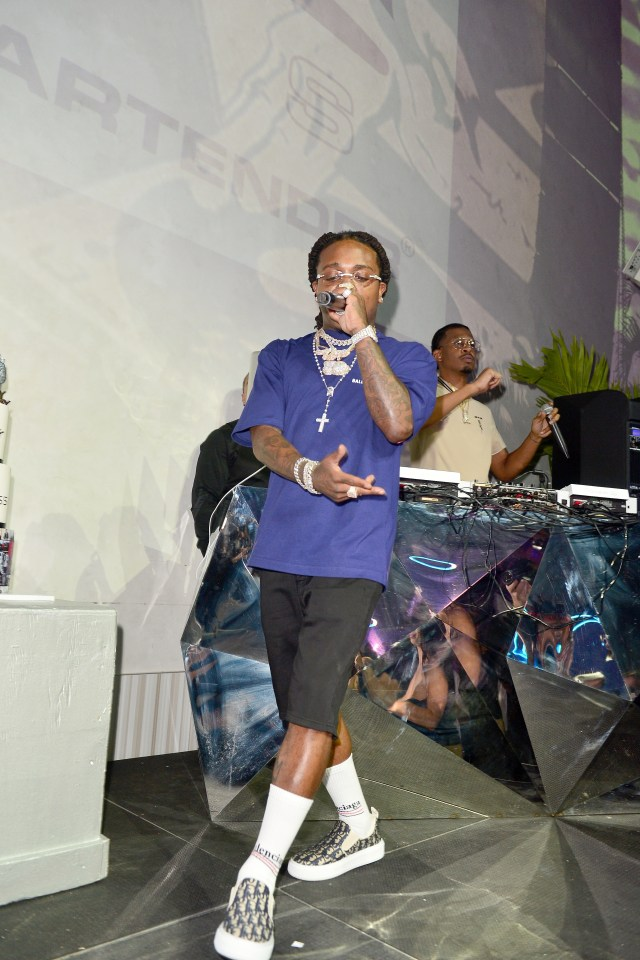 Rapper Jacquees performs live at the party