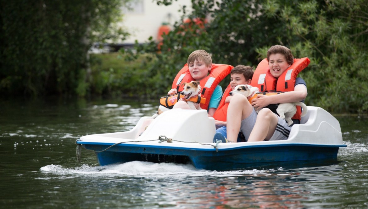 Pedalo on the lake in Lincolnshire