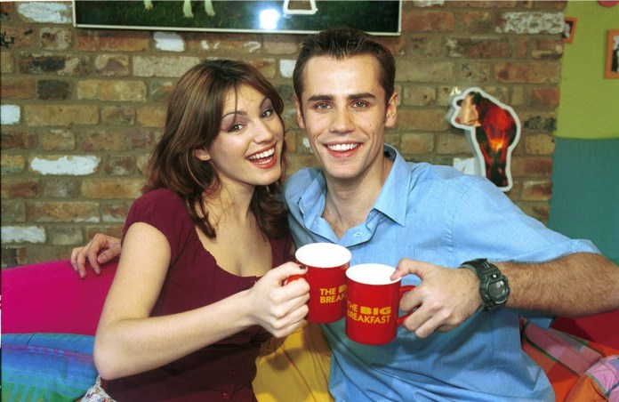 Richard and Kelly Brook toast a morning cuppa on The Big Breakfast
