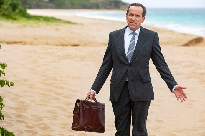 Ben with his usual hairstyle as DI Richard Poole in Death in Paradise