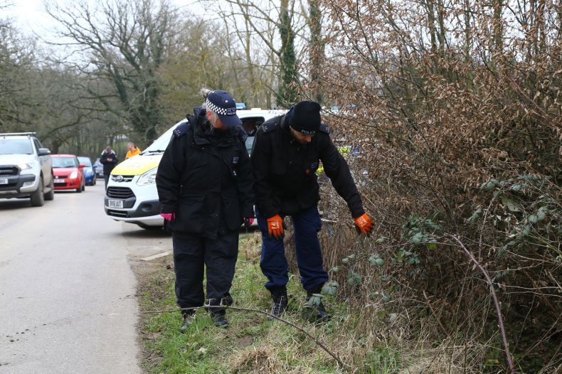 Cops are seen searching through bushes