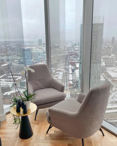 Taylor and Riyad's rented apartment boasts incredible views