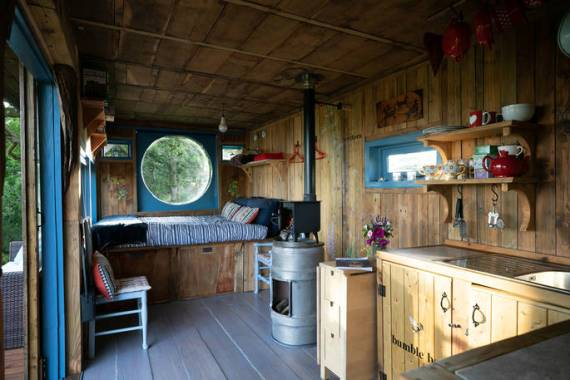 This cabin is surrounded by wildlife