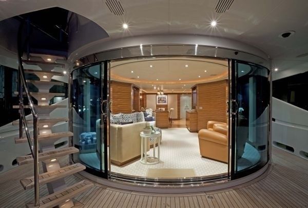 A cosy spot on board the 165ft Totally Nuts, which has just been built in the Netherlands
