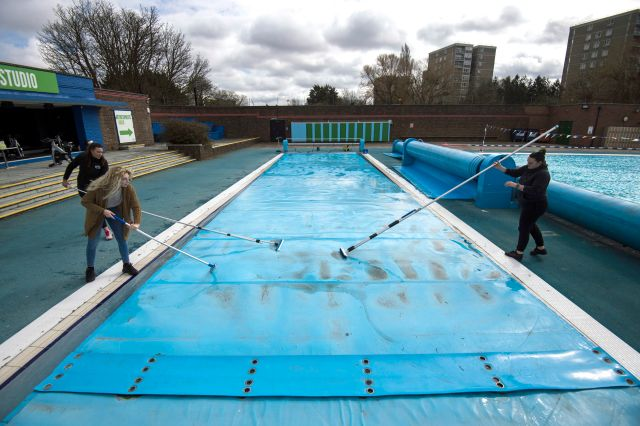 Charlton Lido, South London, has also been preparing for Monday's reopening