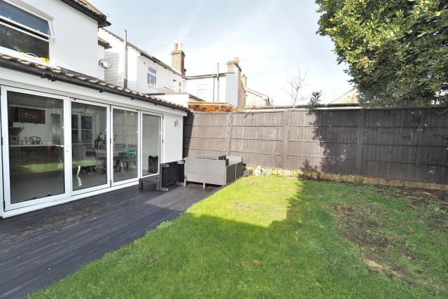 The dining space looks out onto the garden