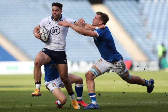 Sean Maitland (left) in action for Scotland last week against Italy