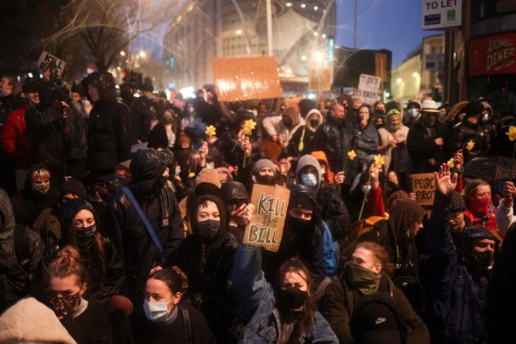 Protesters gathered in Bristol for a third night this week