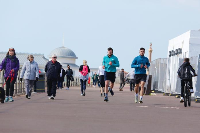 Plenty of people were out exercising on the promenade in Hastings, East Sussex this morning