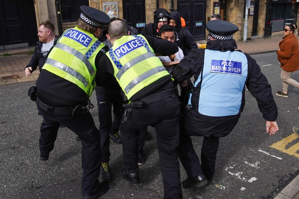 Cops clashed with protesters in Bradford today