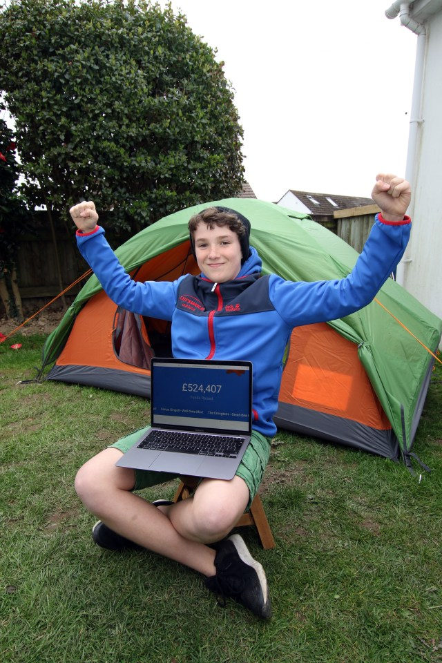 The youngster has captured the nation's hearts after sleeping in a tent all year