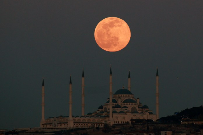 And while the moon looked beautiful over clear Istanbul, the weather hasn't been quite so kind today in the UK