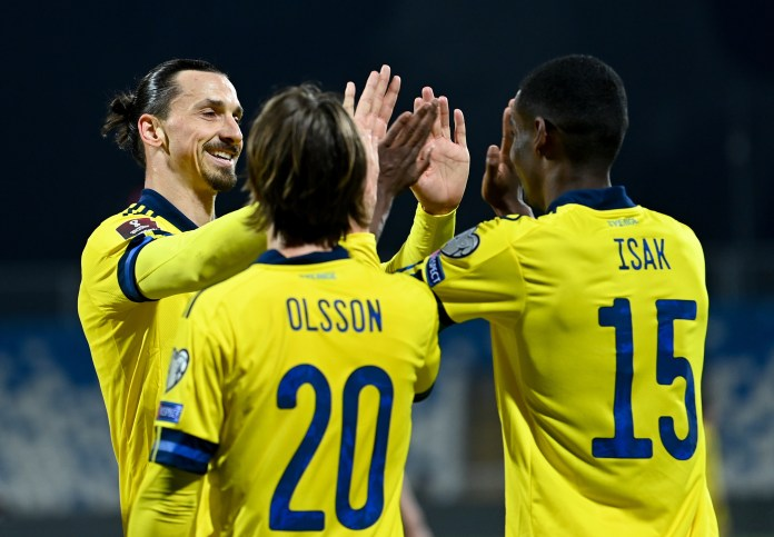 Zlatan Ibrahimovic bagged two assists for Sweden - including a brilliant backheel flick