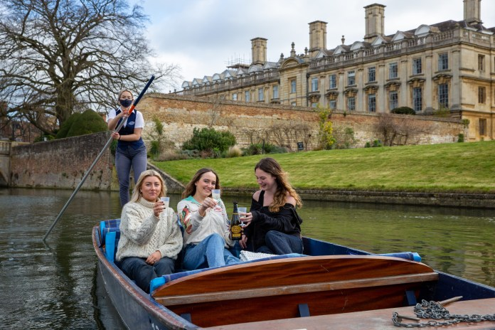 Punters could already be seen on the River Cam, Cambridge