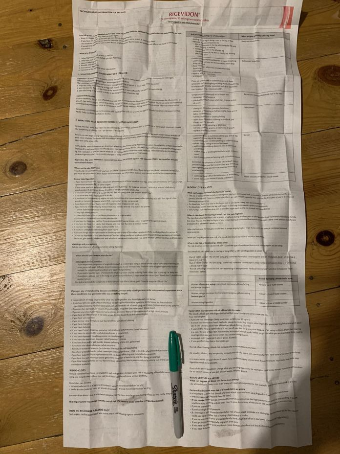 """Georgia wrote: """"This is the info leaflet next to a pen for size reference. Yes it's double sided"""""""