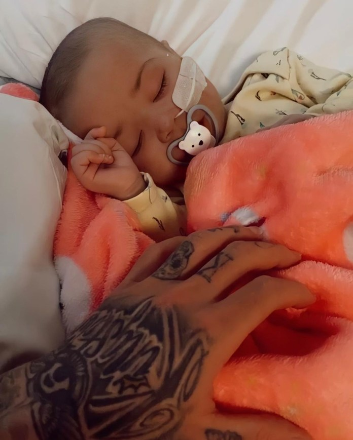 The seven-month-old underwent a gruelling day of treatment yesterday