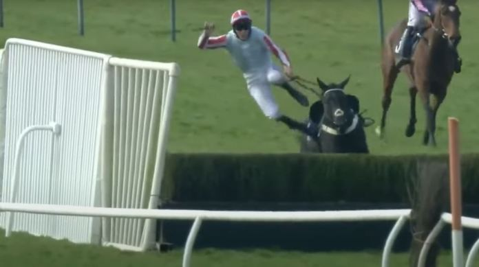 The momentum sent the jockey flying out of the saddle