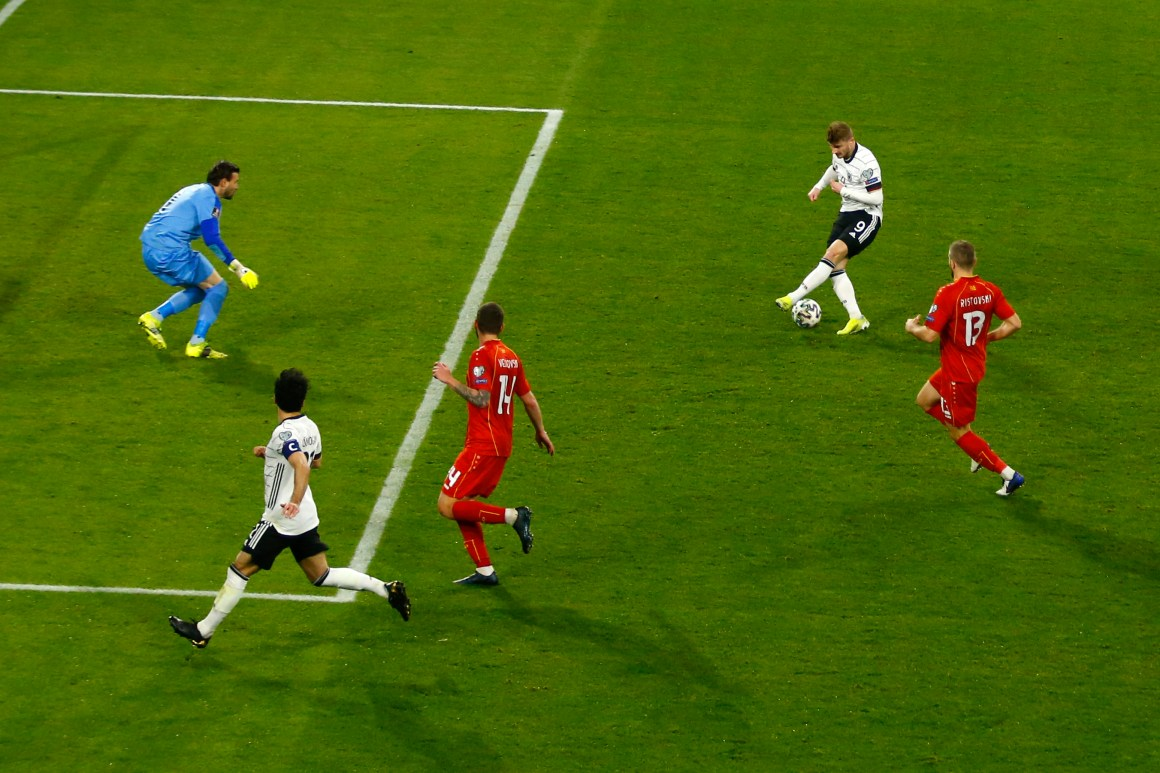 Watch Chelsea's Werner miss SITTER as Germany suffer shock defeat to North Macedonia to lose for first time in 20 YEARS