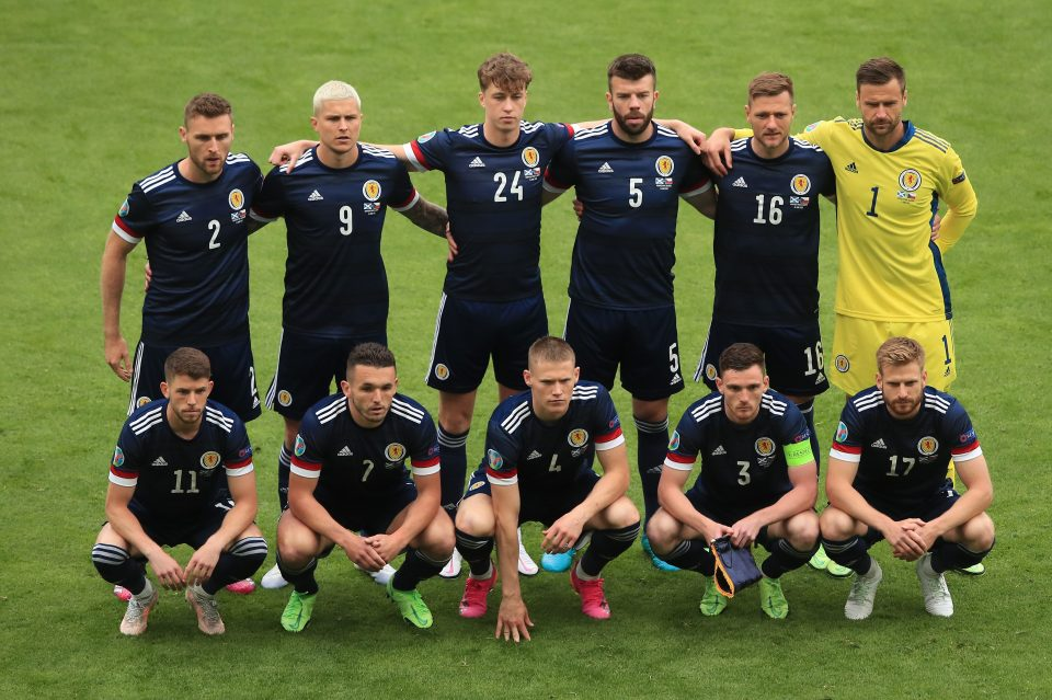 Scotland players line up ahead of their Euro 2020 opener against Czech Republic