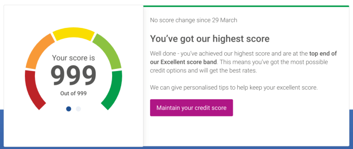 I score an impressive 999 on Experian, which didn't match up with my Equifax score