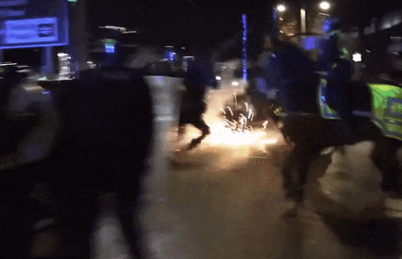 Fireworks were sent flying at police in Bristol
