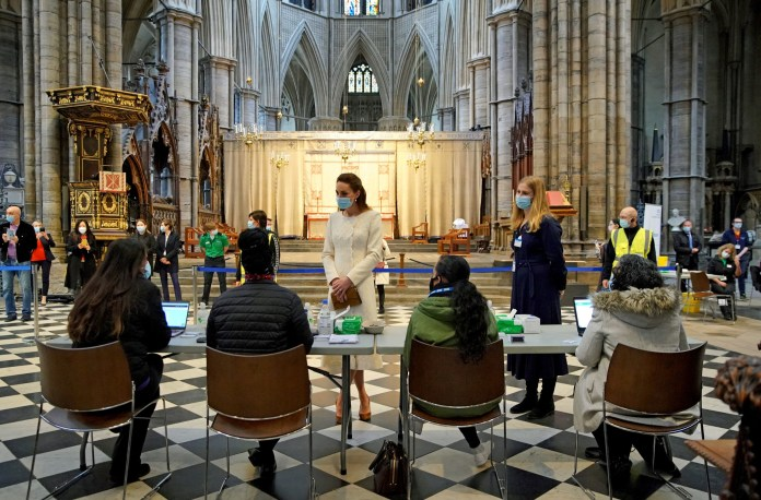 The Duchess of Cambridge visited a vaccine centre at Westminster Abbey in March