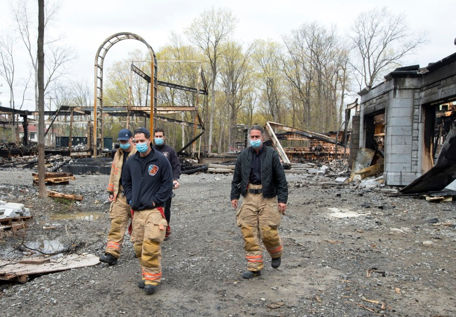Around 80 firefighters spent nearly three hours dousing the flames