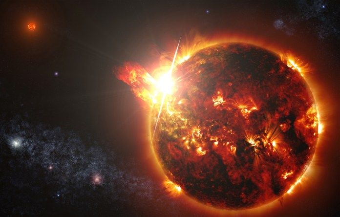 Artist impression of an ejection of matter from a star