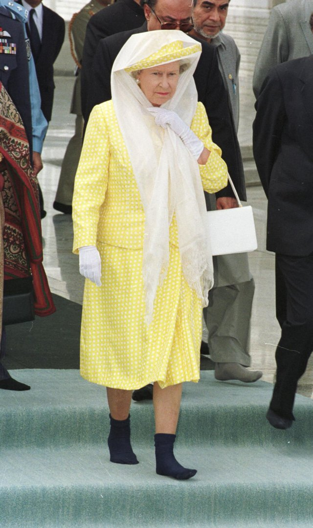 In Pakistan, in 1997, The Queen took her shoes off to respect the Islamic dress code and was seen wearing these black socks