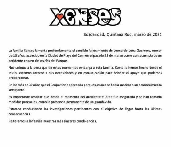 The park released a statement regarding the tragic death of Leonardo Luna Guerrero