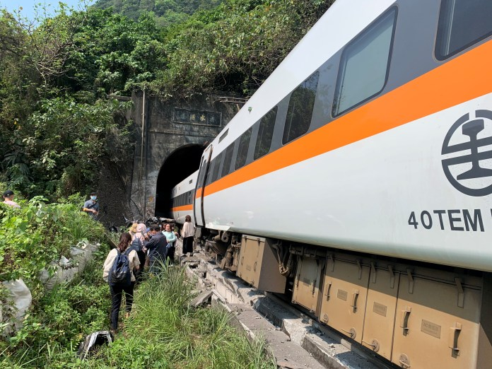 The train hit a truck which had fallen onto the line