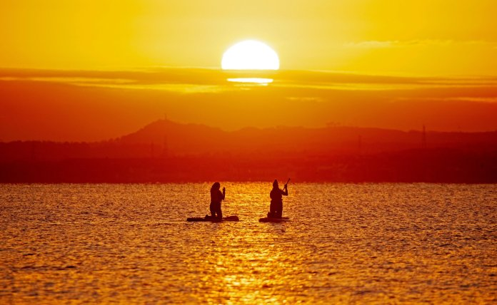 Paddle boarders in Portobello, Edinburgh