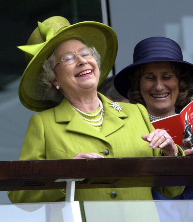 Her Majesty is full of joy as she watches the Derby in 2002