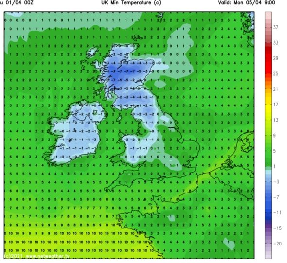 Temperatures on Easter Monday will reach below freezing