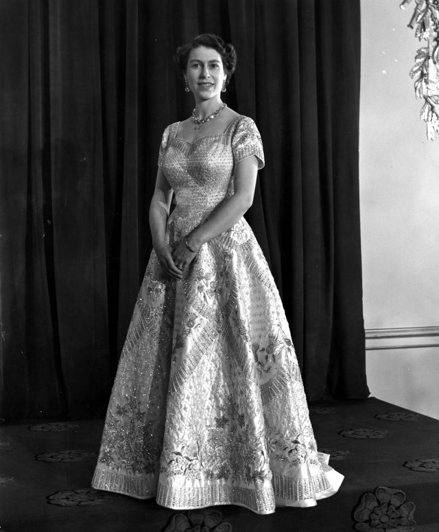 The Queen two days after her coronation in June 1953, in the gown designed by royal dress-maker Norman Hartnell she wore for the ceremony