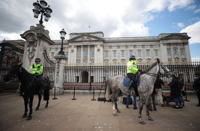 Police on horseback stopped crowds from gathering