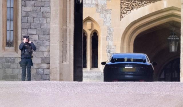 Prince Charles also entering at Windsor castle