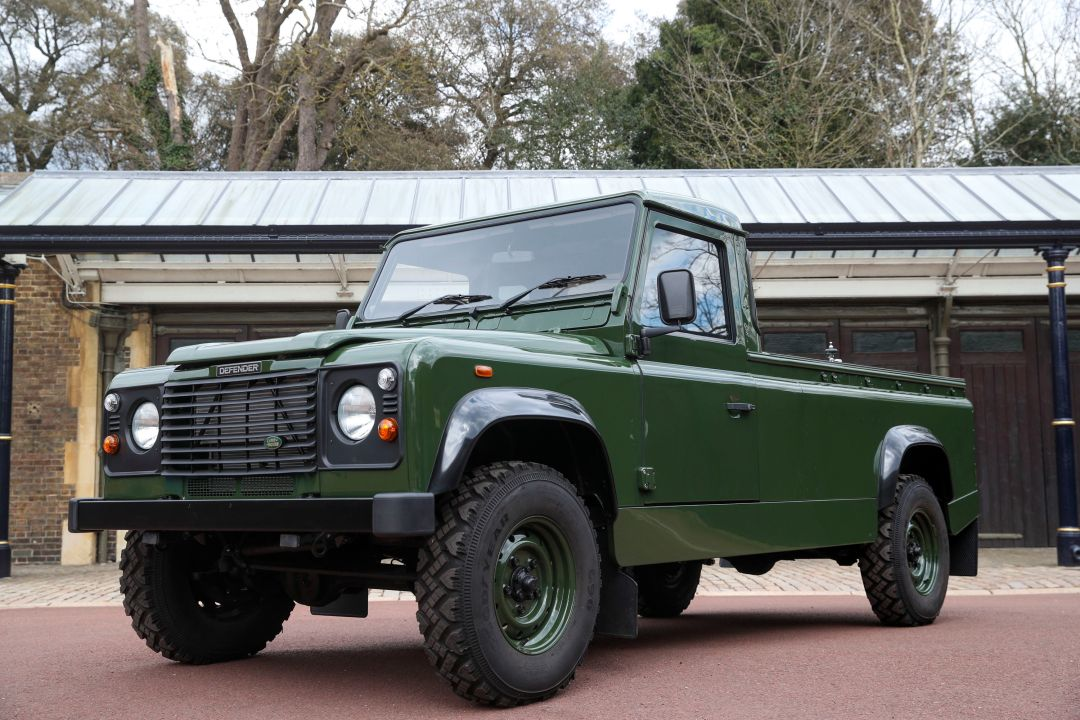 The green Land Rover that will carry Prince Philip's coffin