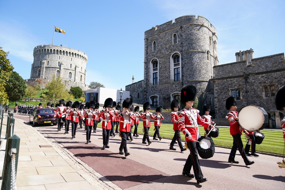 Troops marched at Windsor Castle ahead of Philip's funeral