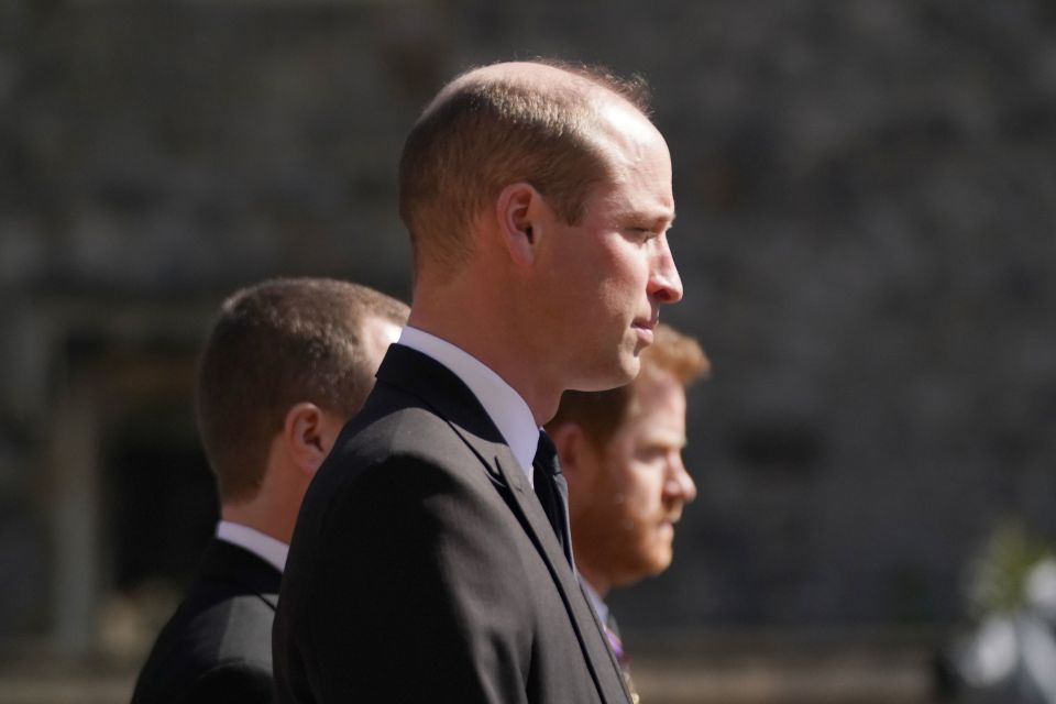 The brothers walked in line behind Prince Philip's coffin