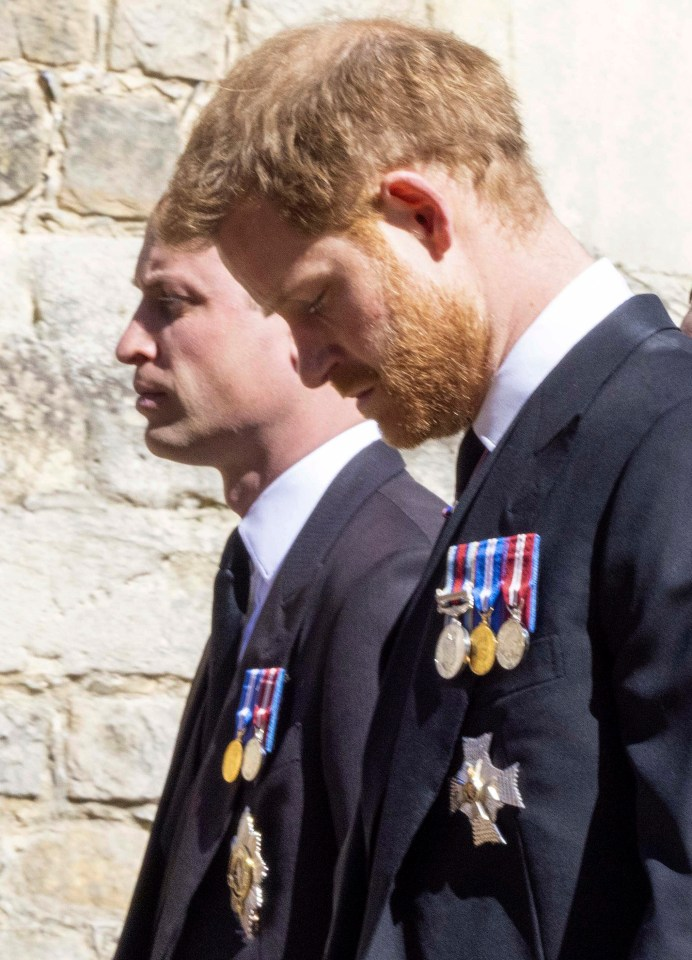 Prince Harry and William walking together behind Philip's coffin