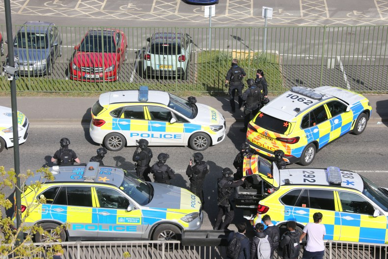 Armed officers rushed to Crawley College this afternoon