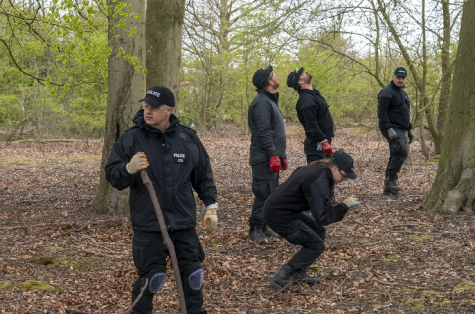 Officers carried out fingertip searches in the forest
