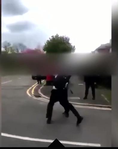 Shocking footage shows two children in school uniform fighting