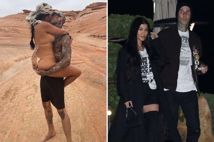 Kourtney Kardashian bares all in thong bikini as she wraps ...