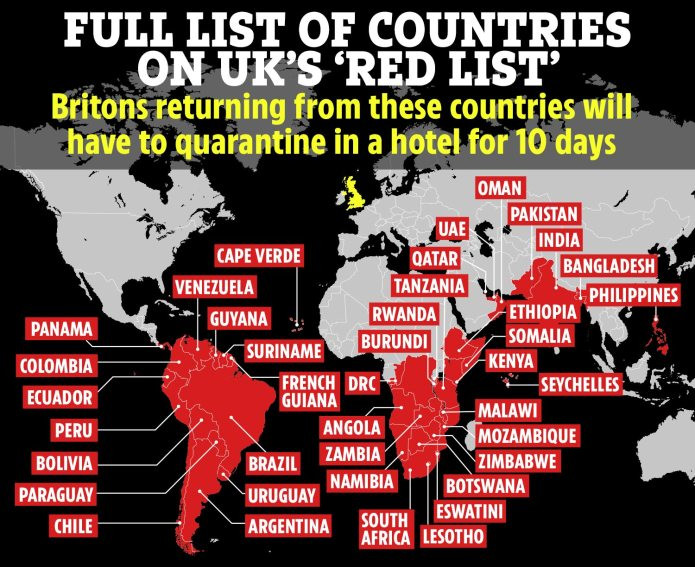 About 40 countries - including India - are on the UK's `` red list ''